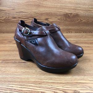 Dansko Franka Brown Leather Wedge Heels